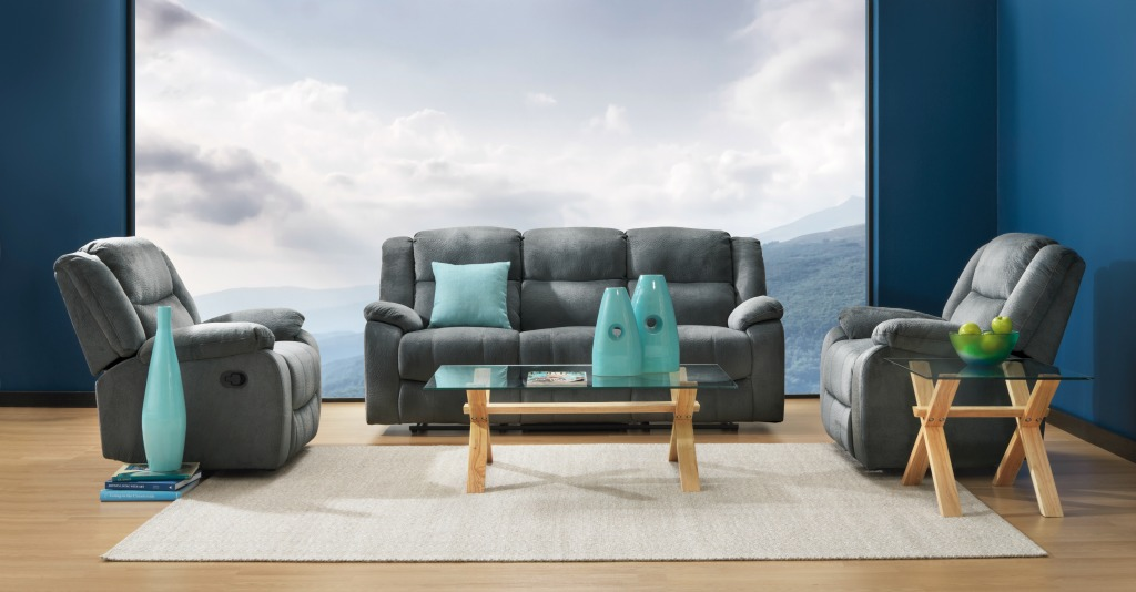 Donvale 3 piece recliner suite warrnambool knock on wood for Furniture 3 piece suites